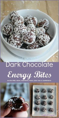 Dark Chocolate Almond Bites made with dates almonds cacao and coconut Simple and Savory