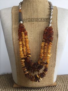 Amber 琥珀色 three antique strands multi shape necklace with antique Bohemian cigarette holder by SavannaCaravan on Etsy Amber Beads, Amber Jewelry, Ethnic Jewelry, Beaded Jewelry, Unique Jewelry, Beaded Necklaces, Statement Necklaces, Jewelry Ideas, Bead Shop