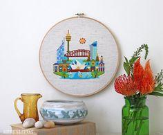 Pretty Little Sydney - Modern Cross stitch embroidery pattern PDF - Instant download