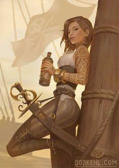 Cutthroat Kaari kalou by BobKehl on DeviantArt Pirata Character Inspiration Fantasy, Fantasy Character Design, Character Concept, Character Art, Concept Art, Writing Inspiration, Pirate Art, Pirate Woman, Anime Pirate Girl