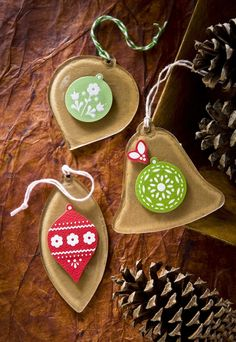 Make Christmas ornaments with Mod Podge Podgeable shapes, kraft paper, and Dimensional Magic!