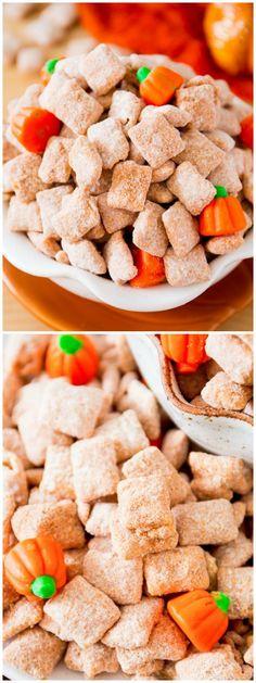 #Pumpkin #Spice Puppy Chow - grab this easy recipe on sallysbakingaddiction.com