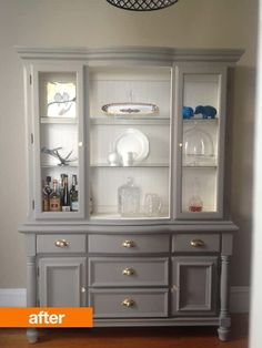Before & After: An Outdated Hutch Goes Cottage Chic gray and white chalk painted hutch Refurbished Furniture, Repurposed Furniture, Shabby Chic Furniture, Furniture Makeover, Antique Furniture, Wooden Furniture, Refurbished Hutch, Refinished China Cabinet, Gray Painted Furniture