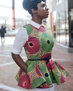 African inspired outfit for women African Inspired Fashion, African Print Fashion, Africa Fashion, Fashion Prints, African Print Peplum Top, African Print Dresses, African Dress, African Prints, African Blouses
