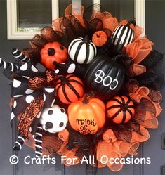 Excited to share this item from my shop: Halloween wreath, Halloween decorations, Halloween decor, fall wreath, pumpkin wreath. Halloween Christmas Tree, Halloween Wood Crafts, Dollar Tree Halloween, Halloween Ribbon, Diy Halloween Decorations, Halloween Diy, Halloween Photos, Halloween 2020, Halloween Coloring