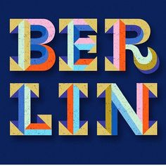 """Berlin"" by @superniceletters for today's #goodtypetuesday. Those colors, those slabs! Beautiful work. • This week is Hometown Represent! Letter the name of the city or town where you live now or where you're from. But it must be in a slab serif..."