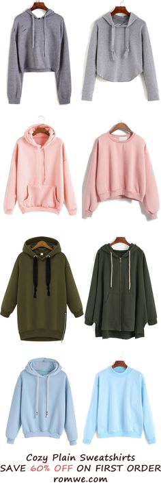 Fall & Winter Plain Sweatshirts Collection from romwe.com