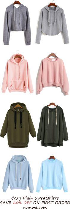 Fall & Winter Plain Sweatshirts Collection from romwe.com