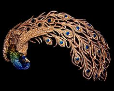 Mellerio 'Paon Royal' Head Dress - 1905 - by Mellerio dits Meller (French, founded 1613) - Gold and platinum with cloisonné-enamel and diamonds - @~ Watsonette