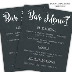 Printable DIY Bar Menu Template for $6.50 #onselz