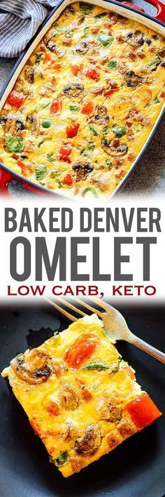 BAKED DENVER OMELET Breakfast Casserole also called Western Omelet or Southwest Omelet is the perfect dish when you want to feed a crowd or need freezer friendly breakfast egg muffins. Loaded with onions peppers mushrooms ham and a secret ingredients Low Carb Breakfast, Breakfast Dishes, Breakfast Time, Breakfast Casserole, Breakfast Recipes, Breakfast Ideas, Breakfast Cereal, Breakfast Bars, Breakfast Quiche