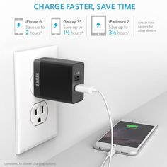Amazon.com: Anker® 20W 2-Port USB Wall Charger with Foldable Plug and PowerIQ Technology for iPhone, iPad, Samsung Galaxy, Nexus, HTC, Motorola, LG and More (Black): Cell Phones & Accessories