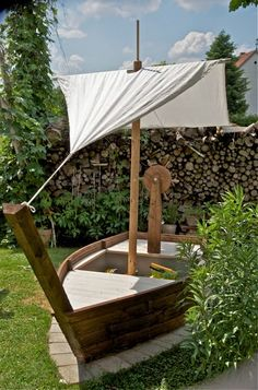 Sandbox in the form of a pirate ship. Arrives well at all boys. - All About Garden Backyard Playground, Backyard For Kids, Preschool Playground, Garden Kids, Outdoor Play, Outdoor Living, Outdoor Decor, Outdoor Projects, Garden Projects