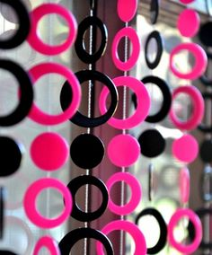 Beaded Curtain -- Hot Pink and Black Retro Circles