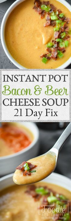 This 21 Day Fix approved Instant Pot Bacon and Beer Cheese Cauliflower Soup is a bowl full of cozy and so perfect for game day! Makes a great quick and healthy lunch or dinner! #21dayfix #healthy #quick #instantpot #dinner #lunch #beer #gameday #mealprep