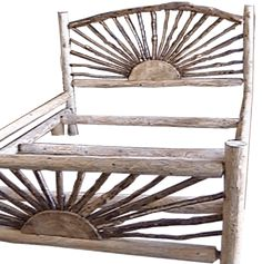 Ideas For Wood Bed Frame Rustic Head Boards Rustic Wood Bed Frame, Log Bed Frame, Solid Wood Bed Frame, Bed Frame And Headboard, Bed Frames, Twig Furniture, Rustic Wood Furniture, Furniture Design, Furniture Movers