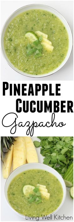 Light and refreshing Pineapple Cucumber Gazpacho that is spicy, sweet and delicious all in one. This easy cold soup will become your new favorite summer recipe because it's so refreshing on a hot day. This recipe is gluten free, dairy free, vegan, and full of fruits & veggies! #gazpacho #cucumber #pineapple #summer #veganrecipes #souprecipes