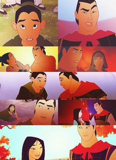 Disney Couples - Mulan and Shang I just love that out of all of these this is the only one without a kiss as the last picture!