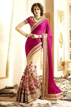 Pink And Cream Georgette Saree With Blouse - DMV11277