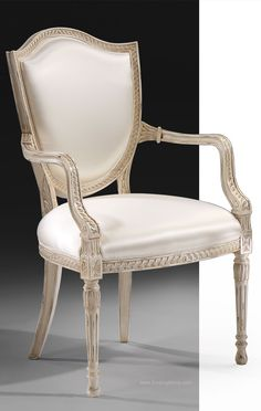 chairs - Hepplewhite style armchair and side chair French Dining Chairs, Dining Table Chairs, Side Chairs, Lounge Chairs, Side Tables, Dining Room, Classic Furniture, Furniture Styles, Furniture Design