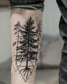 Triangles and Pine Tree Tattoo On Forearm
