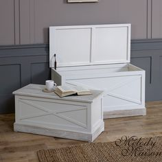 Cream Set of 2 Storage Blanket Boxes - Lyon Range The Lyon range is solid wooden furniture, cream painted finish with stunning french style look Made from Wood with a cream antique finish with distressed edges All the pieces have stunning French styled limed tops, and the country home furniture carvings Dimensions: 95.5 x 43.5 x 49 cm, 86 x 39 x 45 cm
