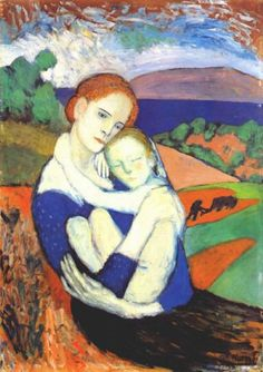 """Mother and Child, Pablo Picasso. """"Only one person has the right to criticize me. That is Picasso. Pablo Picasso, Kunst Picasso, Art Picasso, Picasso Paintings, Paintings I Love, Picasso Blue, Indian Paintings, Cubist Movement, Kunst Online"""