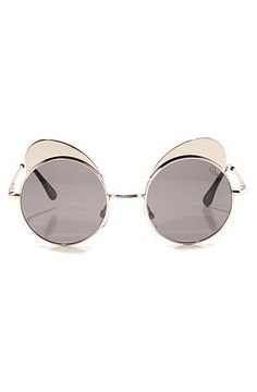 Quay Eyewear Australia Women's The Yibrow Sunglasses in Silver, Sunglass