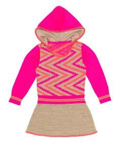 Look at this #zulilyfind! Pink & Beige Zigzag Hooded Dress - Toddler & Girls #zulilyfinds