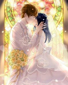 Anime Couple Kiss, Anime Kiss, Romantic Anime Couples, Romantic Manga, Anime Couples Drawings, Anime Couples Manga, Anime Cupples, Kawaii Anime, Desenhos Love