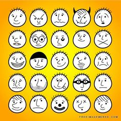 Set of hand-drawn funny cartoon faces. active, anger, angry, avatars, bald, black, boy, cartoon, character, cheerful, child, cry, cute, design, devil, doodle, drawing, emoticon, emotion, expression, eyes, face, fun, graphic, group, hand drawn, happy, head, human, icon, illustration, kid, kindergarten, laughing, lines, mouth, nice, people, person, pupil, sad, school, set, sketch, sleep, smile, sweet, vector, yellow, youth