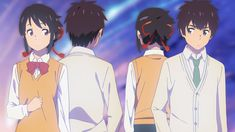 Anime Your Name. Mitsuha Miyamizu Taki Tachibana Kimi No Na Wa. Kimi No Na Wa, Mitsuha And Taki, Tsurezure Children, Your Name Anime, L Death Note, Anime Galaxy, Animation, Illustrations, Anime Love