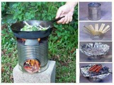 """DIY Camping Or Picnic Stove Rocket stove in use - everyone needs to know how to build/use one of these for """"those"""" times when there's no other way to cook. Camping,camping tips,Clever and Simple Ideas,DIY, Diy Camping, Camping Survival, Survival Prepping, Emergency Preparedness, Survival Skills, Camping Stove, Camping Hacks, Camping Ideas, Survival Stove"""
