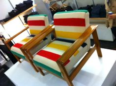 Westnofa Norway plank arm easy chairs in vintage Hudson Bay blankets Hudson Bay Blanket, Vintage Blanket, Vintage Cabin, Vintage Chairs, New Furniture, Furniture Plans, Woodworking Furniture, Teds Woodworking, Rustic Kitchen