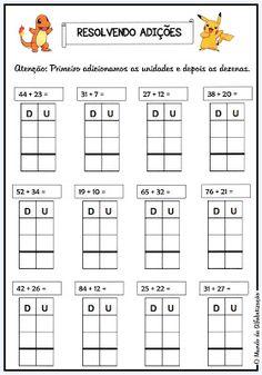 O Mundo da Alfabetização: Adição e subtração no quadro posiocional 2nd Grade Math Worksheets, 4th Grade Math, Math Addition, Addition And Subtraction, Subtracting Integers Worksheet, Math Intervention, Math Classroom, Math Activities, Fact Families