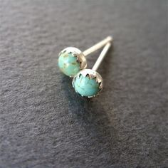 Small Turquoise Stud Earrings Natural Stone In Sterling Silver Kingman Arizona