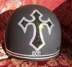 Bling your Motorcycle Helmet to match your ride. We use Genuine Swarovski Crystals for the best sparkle and shine. Create your own design for your helmet or let us do it for you. Sparkle up your day with Custom Bling by Ricci~ Show off in this bad girl cross. You won't be missed in this one!