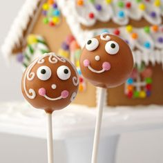 Dress up cake pops with Wilton Limited Edition Gingerbread Candy Melts candy. Simply bake, dip, and decorate! These gingerbread friends cake pops will bring a smile to everyone who sees them.
