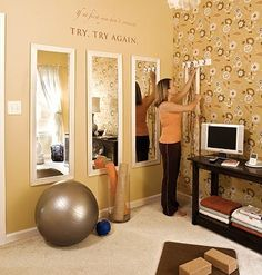 Exercise Ball, Open Space, 3 Mirrors put together for the effect of a large mirror but cheaper in price, a small TV and a stereo plug-in for cell phone or ipad. Also like the yoga mat storage! - MKF