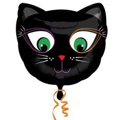 Globo gato negro ojos verdes, de www.fiestafacil.com / Spooky cat balloon, from www.fiestafacil.com