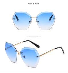 cfe354d6240 2017 Transparent Gradient Sun Glasses Women Sunglasses Elegant Optics  Rimless lunette femme Lady Oversized Famous Brand Designer