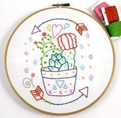 Cactus Planter Western Hand Embroidery PDF Pattern by lovahandmade #embroidery #pattern #cactus #pdfpattern #lovahandmade