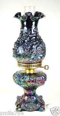 Fenton Art Glass ~ PURPLE Carnival POPPY Kerosene Style Electric Lamp