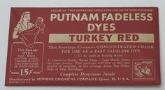 Vintage Early to Mid 1900s Putnam Fabric Dye Turkey Red New Old Stock   eBay