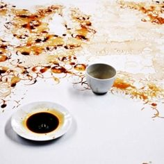 "A ""painting"" made out of coffee stains by Chinese-Malaysian artist Hong Yi."