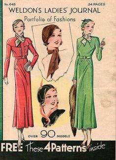 Weldon's Ladies Journal cover for April 1933. #vintage #1930s #fashion #illustrations
