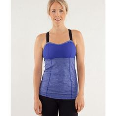 Lululemon Run Catch Me Tank in Blue Tonka ॐ Love this tank! Form fitted strappy back tank with hook and eye closure for adjustable custom fit. Black elastic straps are also length adjustable. Pigment Blue Tonka Stripe pastel print is edgy yet feminine. Rip tag has been removed. Size 2 or 4. Very gently worn. Teeny tiny bit of pilling on the black elastic straps but the top itself is in immaculate condition.     ✗ Drama ✗ Trades ⚡️Fast Shipper ☆☆☆☆☆ 5 star seller  Price is firm *final price…