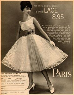 pretty paris lace 1960 ...8.95 mail order & C.O.D!! ...one could afford this out of babysitting money [which was 50cents an hour in 1960 where I lived] Hmmm...? Wonder if there were shipping charges and what it looked like when it arrived.