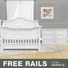 Baby Appleseed 2 Piece Nursery Set - Millbury 3-in-1 Convertible Crib and Davenport Double Dresser in Pure White - Click to enlarge