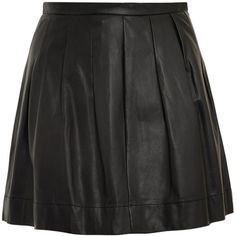 Rebecca Taylor Full Leather Mini Skirt (395 CAD) ❤ liked on Polyvore featuring skirts, mini skirts, saias, bottoms, black, black pleated skirt, leather skirt, a-line skirt, black skirt and mini skirt